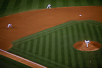 Yankees pitcher A.J. Burnett delivers a pitch as third baseman Alex Rodririguez and shortstop Derek Jeter look on during Game 2 of the 2009 World Series between the New York Yankees and The Philadelphia Phillies in Bronx, NY. (Photo by Robert Caplin)..