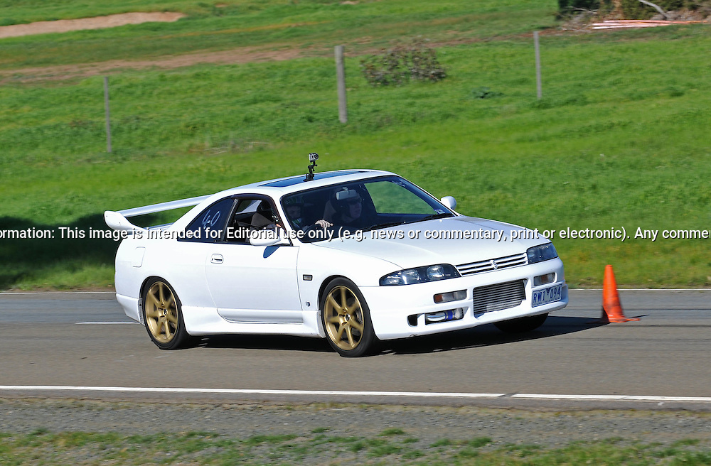 Brendan Pryor..Nissan Skyline R33 GTST.SAU Deca Motorkhana sponsored by Micolour.Shepparton, Victoria .15th of August 2009.(C) Joel Strickland Photographics.Use information: This image is intended for Editorial use only (e.g. news or commentary, print or electronic). Any commercial or promotional use requires additional clearance.