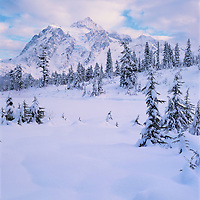 Mt. Shuksan, WA, USA.9,127ft. .Mt. Shuksan in North Cascades National Park..Winter at Picture Lake..Brett Baunton