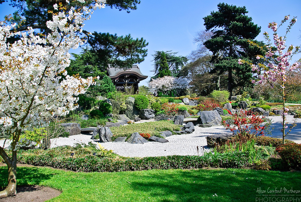 The Chokushi-Mon sits surrounded by a Japanese garden in the Royal Botanic Gardens of Kew in London, England.