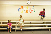MONTREAL, QC--30-08-2007- Mia Campione, Lauren Conroy and her brother Jackson, all 4, explore the music room during orientation at Thorndale Elementary in Pierrefonds. Thorndale is one of three schools with the new Pre-K program for 4-year olds, and is part of a pilot project being launched by the Lester B. Pearson school board. (CITY) The Gazette / Liam Maloney Neg # 24826