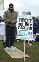 Anit-War protesters in Hyde Park. February 2003...Byline/credit should read:<br />