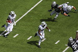 EAST RUTHERFORD, NJ - SEPTEMBER 7: Saalim Hakim (15) of the New York Jets returns the opening kickoff during a game against the Oakland Raiders at MetLife Stadium on September 7, 2012 in East Rutherford, NJ.  (Photo by Ed Mulholland/Getty Images)