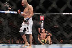 August 27, 2011; Rio De Janiero, Brazil; Stanislav Nedkov (white trunks) celebrates after knocking out  Luiz Cane (black trunks) at UFC 134 in Rio De Janiero.