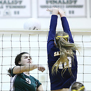 Grace Merritt (9) spikes for the kill during the 2nd Round of the 2015 DIAA Girls Volleyball Tournament Saturday, Nov. 07, 2015 at Archmere Academy in Claymont.