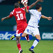 Panama Attacker Luis Tejada #18 with the ball in front as EL Salvador Defender Víctor Turcios #5 defends Tejada. Panama would go on to defeat EL Salvador 2-1 in the concacaf gold cup quarterfinals Sunday, June 19, 2011 at RFK Stadium in Washington DC.