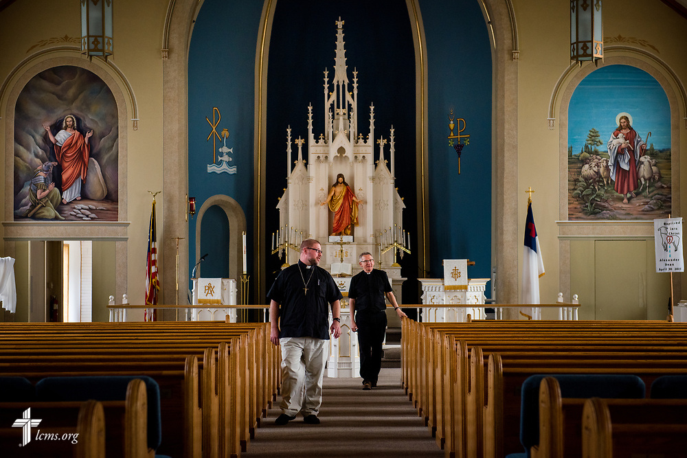 The Rev. Joel Fritsche, career missionary to the Dominican Republic, visits his former congregation, Zion Lutheran Church and School, Staunton, Ill., with the company of the current pastor, the Rev. Kelly Mitteis, during a home service visit on Wednesday, April 26, 2017, in Staunton.  LCMS Communications/Erik M. Lunsford