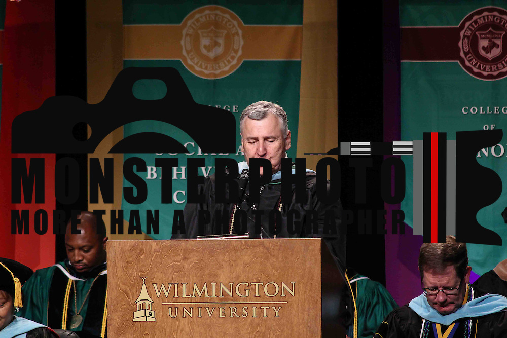 Wilmington University assistant professor, College of arts and sciences & coordinator of student affairs Gary L. Donahue. M. Ed. gives the Benediction commencement exercise Sunday, May 17, 2015, at Chase Center On The Riverfront in Wilmington Delaware.