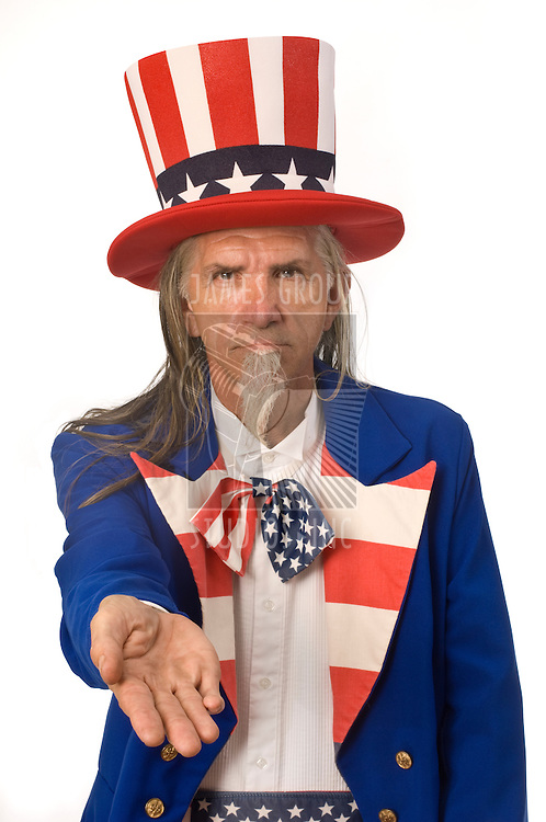 Uncle Sam on a white background with his palm outstretched