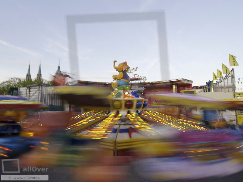 Munich, Wiesn, spring festival, carousel in motion, Germany, Bavaria