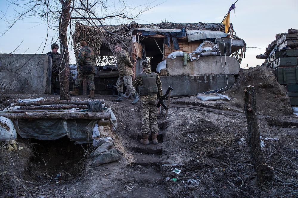 A front-line Ukrainian military position on Sunday, February 7, 2016 in Stanitsa Luhanska, Ukraine.
