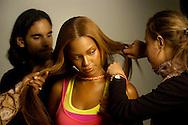 James Kaliardos, American make-up artist on set with Beyonce in Paris.