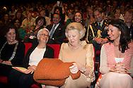 Princess Beatrix of The Netherlands attends the conference Long Live Arts at the Theater aan het Spui in The Hague, The Netherlands, 21 May 2015. Theme of the conference is culture participation for elderly. The Princess received from former minister Hedy d'Ancona an knitted sweater. 21-5-2015 DEN HAAG - Prinses Beatrix krijgt gebreide trui van Hedy D'Ancona bij Long Live Arts conferentie Den Haag Prinses Beatrix der Nederlanden woont donderdagmiddag 21 mei een feestelijke voorstelling bij die de conferentie Long Live Arts markeert. De voorstelling vindt plaats in het Theater aan het Spui in Den Haag.. COPYRIGHT ROBIN UTRECHT<br /> <br /> 21-5-2015 THE HAGUE - Princess Beatrix of the Netherlands lives Thursday May 21 marks a festive performance in which the conference Long Live Arts. The performance will take place at the Theatre on the Spui in The Hague . COPYRIGHT ROBIN UTRECHT