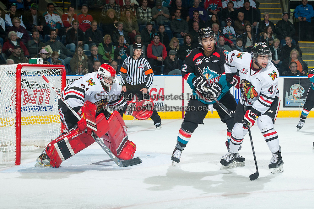 KELOWNA, CANADA - NOVEMBER 22: Adin Hill #31 of Portland Winterhawks defends the net be hid Tyrell Goulbourne #12 of the Kelowna Rockets on November 22, 2014 at Prospera Place in Kelowna, British Columbia, Canada.  (Photo by Marissa Baecker/Shoot the Breeze)  *** Local Caption *** Adin Hill'; Tyrell Goulbourne;