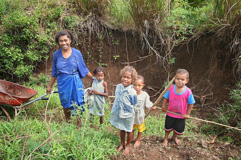 A woman and children in Fiji.