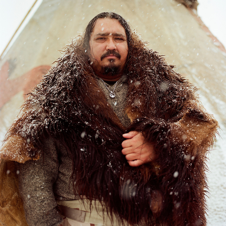 OCETI SAKOWIN CAMP, CANNON BALL, NORTH DAKOTA - DECEMBER 5, 2016: Toby Joseph Sr., Apache and Navajo, at the Oceti Sakowin Camp in Cannon Ball, North Dakota during the protests at Standing Rock.