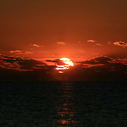 Sunrise of fire over the Atlantic at Jekyll Island