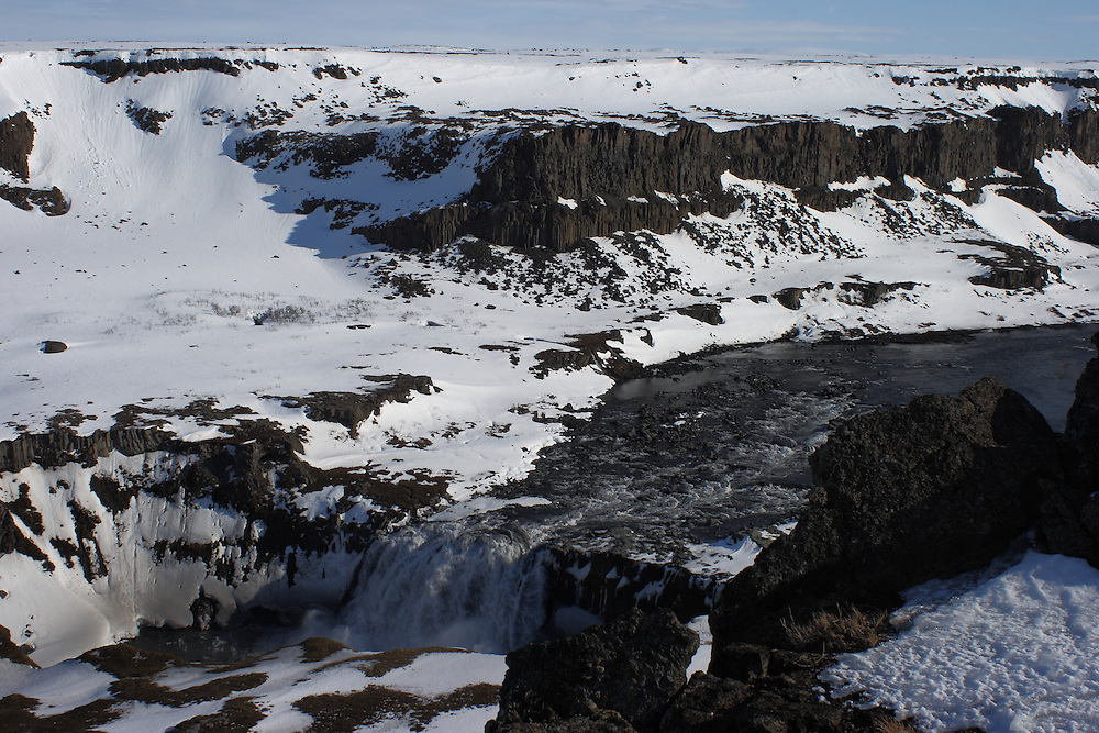 Views from above the mighty Hafragilfoss waterfall on the Jökulsá á Fjöllum river in northern Iceland, taken at the end of March 2009