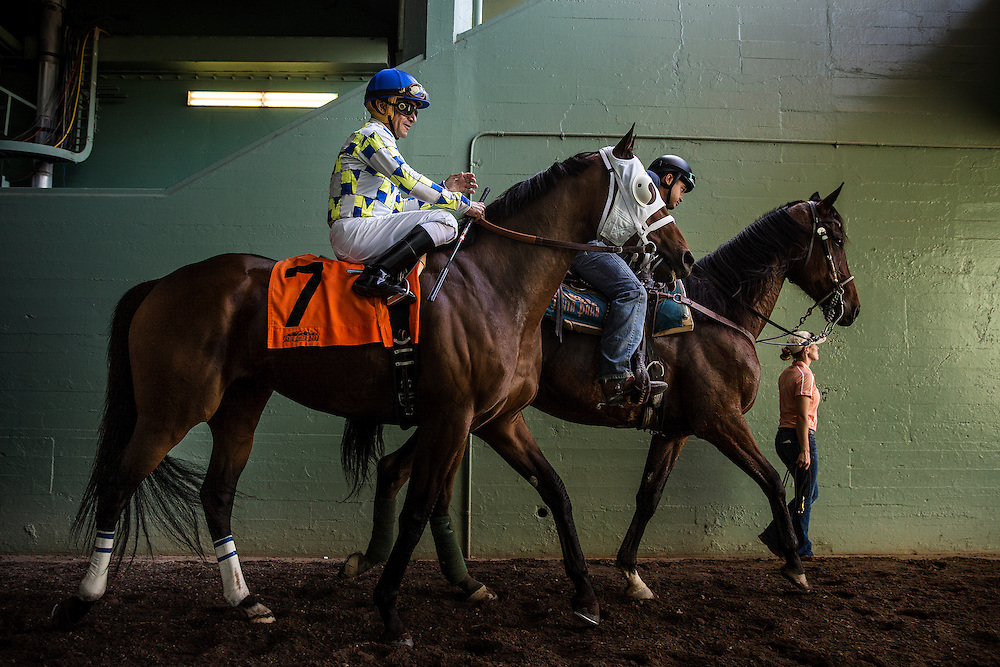 May 30 2015:  Moreno and Cornelio Velasquez walk to the track for the Californian Stakes at Santa Anita Park in Arcadia CA. Alex Evers/ESW/CSM