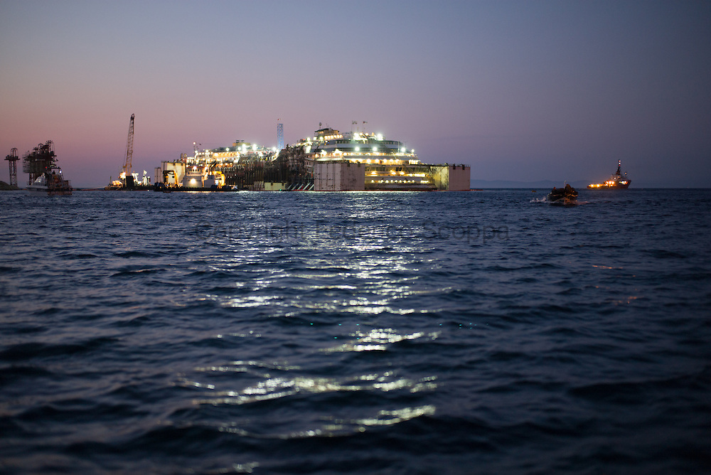 A night view of the Costa Concordia wreck