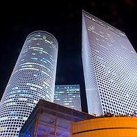 The Azrieli towers at night , Tel aviv Israel