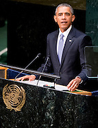 NEW YORK - President Obama during his speech King Willem Alexander and Queen Maxima arrive at the 70th Session of the UN General Assembly - the United Nations COPYRIGHT ROBIN UTRECHT