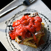 SHOT 4/24/08 6:17:51 PM - Food and dining photos of the Aspen Grill in Evergreen, Co. Dessert items included: Bread Pudding with fresh strawberries..(Photo by Marc Piscotty / © 2008)
