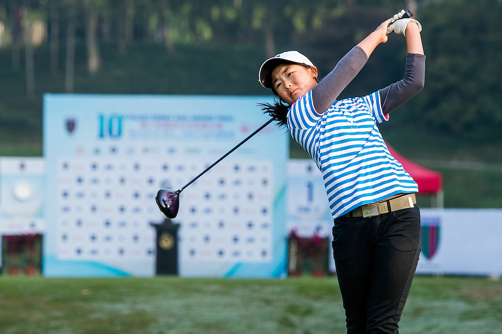 Juliana Hung of New Zealand in action during day one of the 10th Faldo Series Asia Grand Final at Faldo course in Shenzhen, China. Photo by Xaume Olleros.