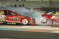 garth tander (toll holden racing team) competing against jason bright (team boc) during YAS V8 400  in yas marina circuit, abu dhabi UAE.11 february 2011.winners Jamie Whincup - team vodaphone (1), Alex davidson - irwin racing (2), makr winterbottom - orrcon steel fpr falcon (3)...real action heroes event..Providing the action for the main event are the Australian V8 Supercars, a two-car series of makers Holden and Ford - a close rivalry that runs deep in Australian culture. This season, that rivalry is heightened by the switch of 2010 series Champion James Courtney, who drives with the coveted No.1 plate, from his winning 2010 Ford Falcon to the Holden Commodore for 2011.