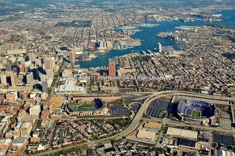 Aerial views of Baltimore Inner Harbor, Maryland