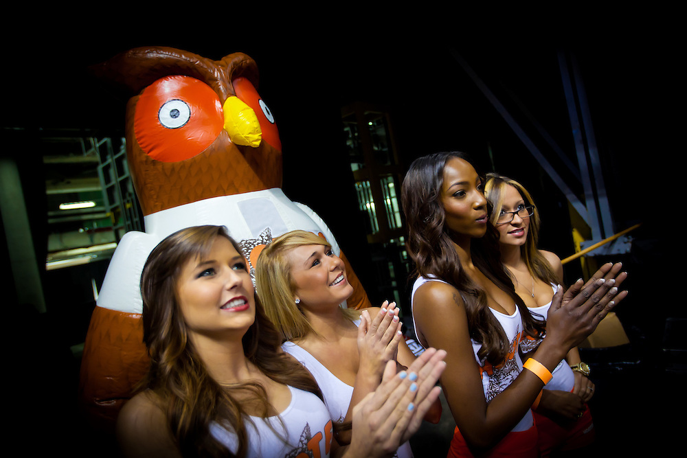 MIAMI, FL -- January 29, 2012 -- Hooters girls wait to take the court for a promotion during the 97-93 Heat win over the Chicago Bulls at American Airlines Arena in Miami, Fla., on Sunday, January 29, 2012.  (Chip Litherland for ESPN the Magazine)