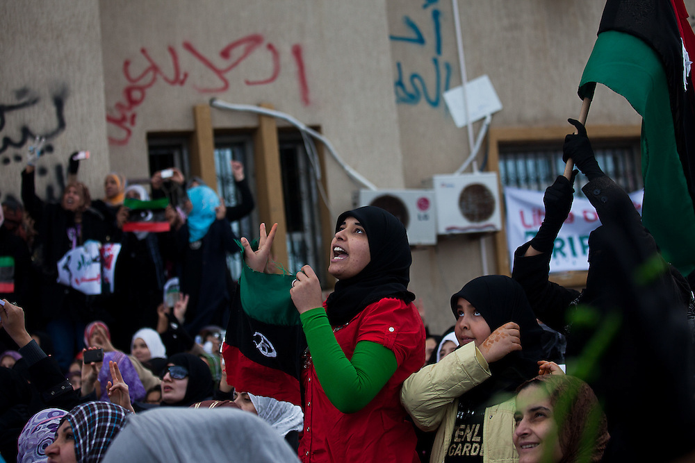 Women protesters  in Banghazi on Feb. 25, 2011.