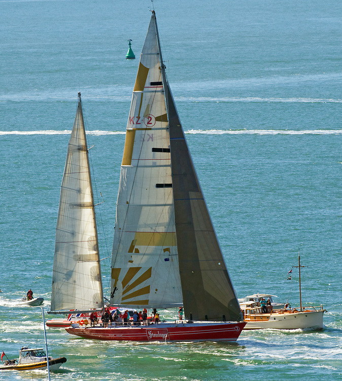 Steinlager 2, the winning Kiwi legend skippered by Sir Peter Blake in the 1989 Whitbread Round the World Race returns to its New Zealand home accompanied by a flotilla of welcoming boats, Auckland, New Zealand,  Saturday, May 05, 2012.   Credit: SNPA / David Rowland