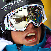 12/19/08 12:55:49 PM -- Breckenridge, CO, U.S.A. -- Skiier Josiah Wells of Wanaka, New Zealand cheers his brother Byron Wells on as he gets ready to drop in to the superpipe at the inaugural Winter Dew Tour in Breckenridge, Co. on December 19, 2008. The four-day competition is the first of three stops on the tour that features freeskiing and snowboarding..(Photo by Marc Piscotty / © 2008)