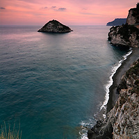 A view at sunset of the cliffs of the Ligurian coast near Bergeggi.
