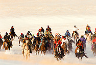 Chief Arvol Looking Horse, Lakota Keeper of the Sacred White Buffalo Calf Pipe leads group of Lakota Sioux on the Big Foot Memorial Ride retracing the final journey of Chief Big Foot and his band before they were killed at The Wounded Knee Massacre in 1890