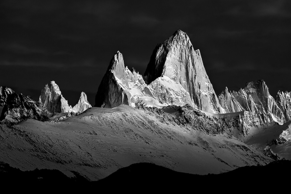 Black and white photo of Mt. Fitzroy at sunrise in Patagonia, Argentina