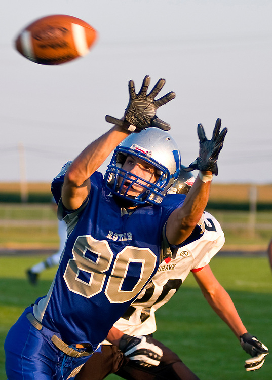 Wynford wide receiver Adam Chatlain (80) stretches out for a pass in front of Mohawk defensive back Craig Parker (20) Friday at Wynford. The Royals earned a 19-12 victory.