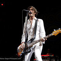 All American Rejects  performing at Z100's Zootopia 2009 in E. Rutherford NJ  Izod Center on May 16,2009. ..Tyson Ritter- dressed in white.Nick Wheeler -dressed in black