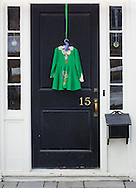 Goshen, New York - A dress decorates the front door of a house on the day of the Mid-Hudson Patrick's Parade on March 15, 2015.