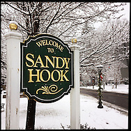 NEWTOWN, CT-10 December 2013- A sign on Church Hill Road welcomes visitors to the Sandy Hook section of Newtown. The small New England town is trying to move forward after the tragedy of the school shooting on December 14, 2012.  (Photo by Robert Falcetti)