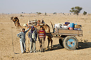 Nomads in the Tar Desert near Bikaner, Rajasthan, India.