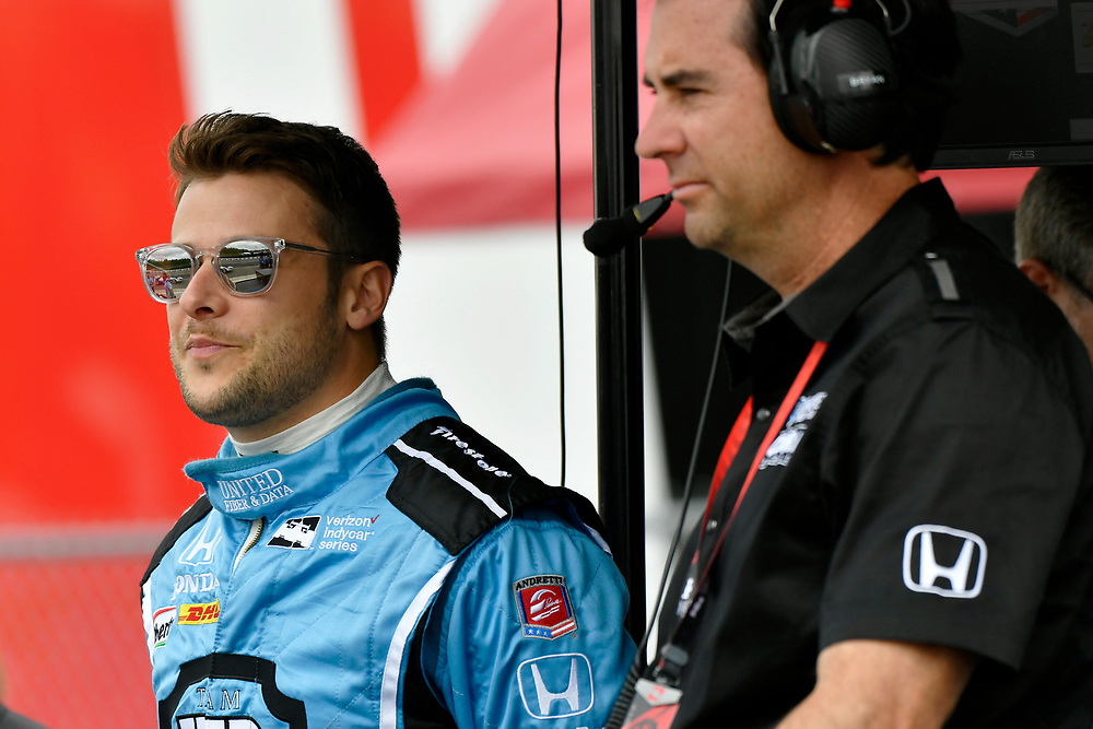 2017 Verizon IndyCar Series<br /> Honda Indy Grand Prix of Alabama<br /> Barber Motorsports Park, Birmingham, AL USA<br /> Saturday 22 April 2017<br /> Marco Andretti, Andretti Autosport with Lendium Honda, Bryan Herta <br /> World Copyright: Scott R LePage<br /> LAT Images<br /> ref: Digital Image lepage-170422-bhm-2482