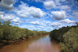Clouds build over the Fitzroy River in the wet season, West Kimberley.