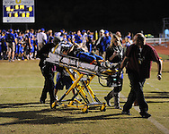 Saltillo's Tyler Tollison (11) is taken to the hospital as a precaution in Oxford, Miss. on Friday, October 19, 2012. Tollison was later released. Oxford won to improve to 9-0.