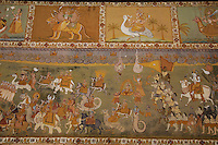 Murals at Mehrangarh Fort in Jodhpur which is one of the largest forts in India.  The complex is protected by thick walls .  Inside the fort are mini palaces renowned for their extraordinary courtyards, murals and artwork.