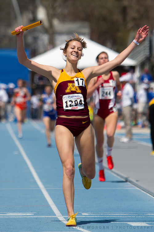 University of Minnesota in the Distance Medley Relay Saturday, April 27, 2013, during the Drake Relays in Des Moines.<br />