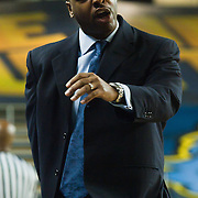 12/30/11 Newark DE: Delaware Men's Head Coach Mont&eacute; Ross is disturb that a foul was called against one of his players during a NCAA basketball game against Temple Friday, Dec. 30, 2011 at the Bob carpenter center in Newark Delaware.<br /> <br /> Rahlir Jefferson-Hollis led the Owls with 13 points and eight rebounds, Anthony Lee added a career-high 12 points, seven rebounds, and three blocks, Juan Fernandez contributed 11 points, and Ramone Moore chipped in with 10 points and a game-high six assists.