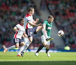 Falkirk's David McCracken and Hibernian's Lewis Stevenson. <br /> half time : Hibernian 0 v 0  Falkirk, William Hill Scottish Cup semi-final, played 18/4/2015 at Hamden Park, Glasgow.