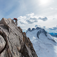 Steve heading out on an easier section of the Kain Route on Bugaboo Spire
